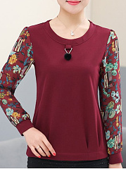 Round Neck  Patchwork  Print Long Sleeve T-Shirts