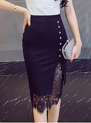 Plain Knee-Length Skirts For Women