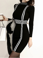 Band Collar  Colouring Bodycon Dress