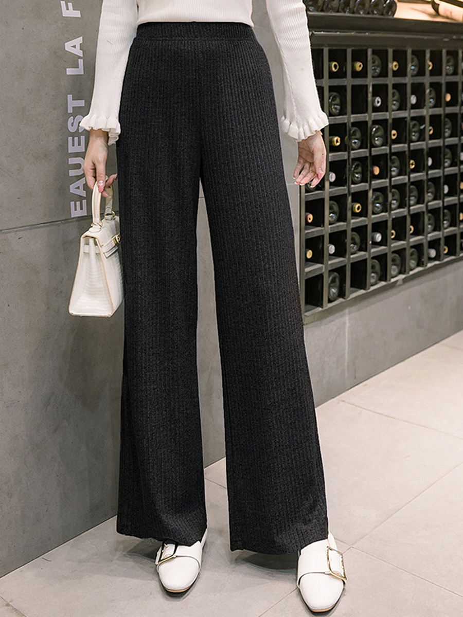 Plain Knitted Elastic Waist Wide-Leg Casual Pants