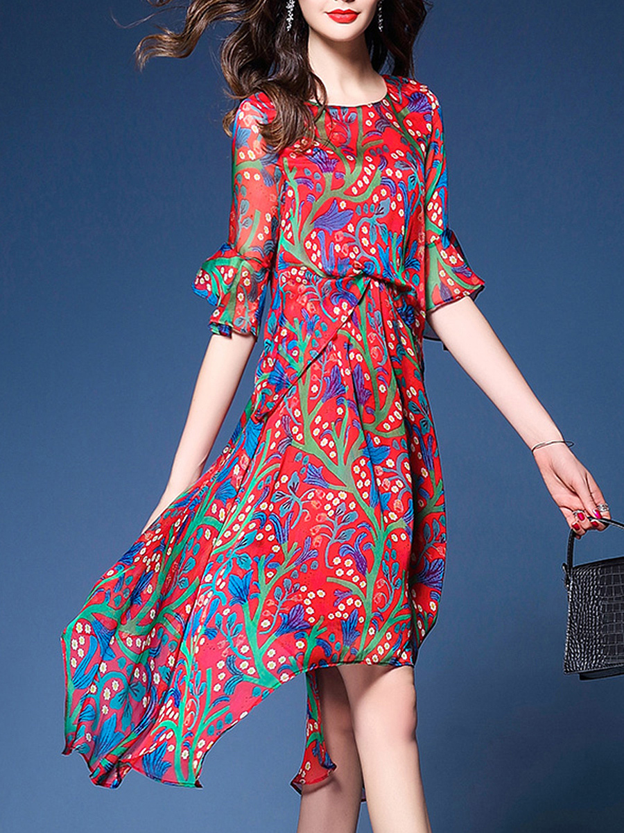 Bell Sleeve Asymmetric Hem Hollow Out Printed Chiffon Maxi Dress