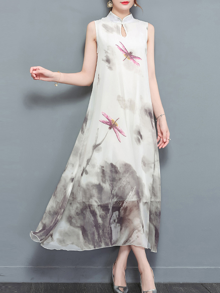 Band Collar Keyhole Dragonfly Printed Chiffon Maxi Dress