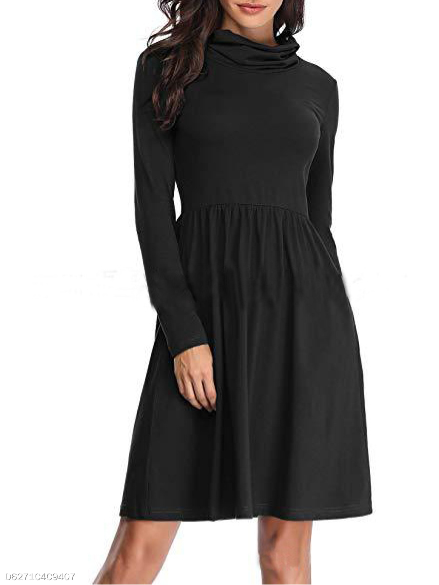 Cowl Neck  Plain Skater Dress
