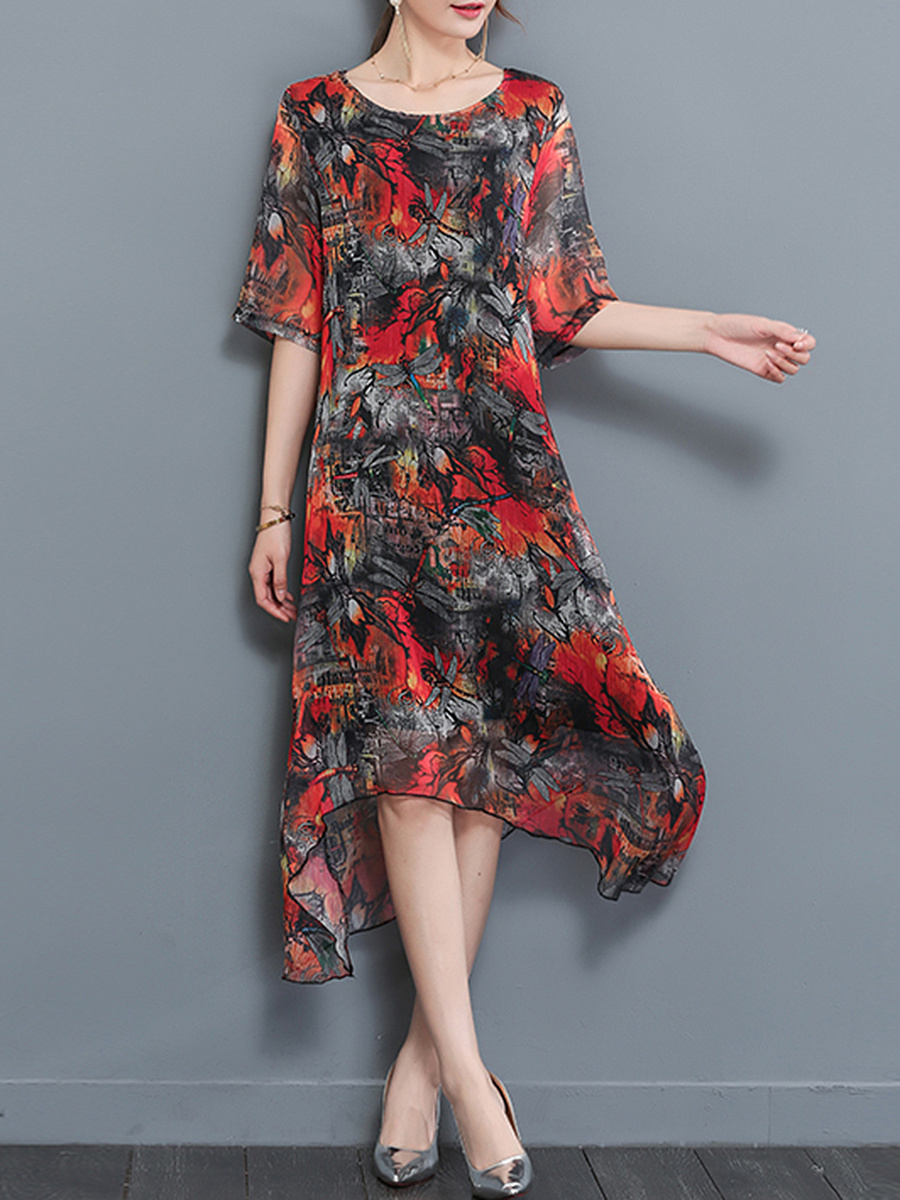 Round Neck Asymmetric Hem Printed Chiffon Maxi Dress