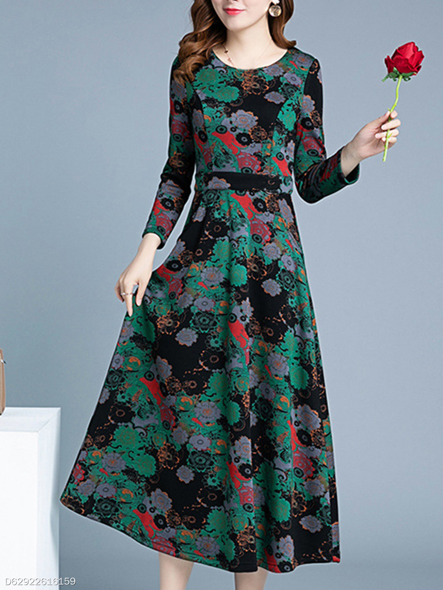 Date Round Neck  Printed Maxi Dress