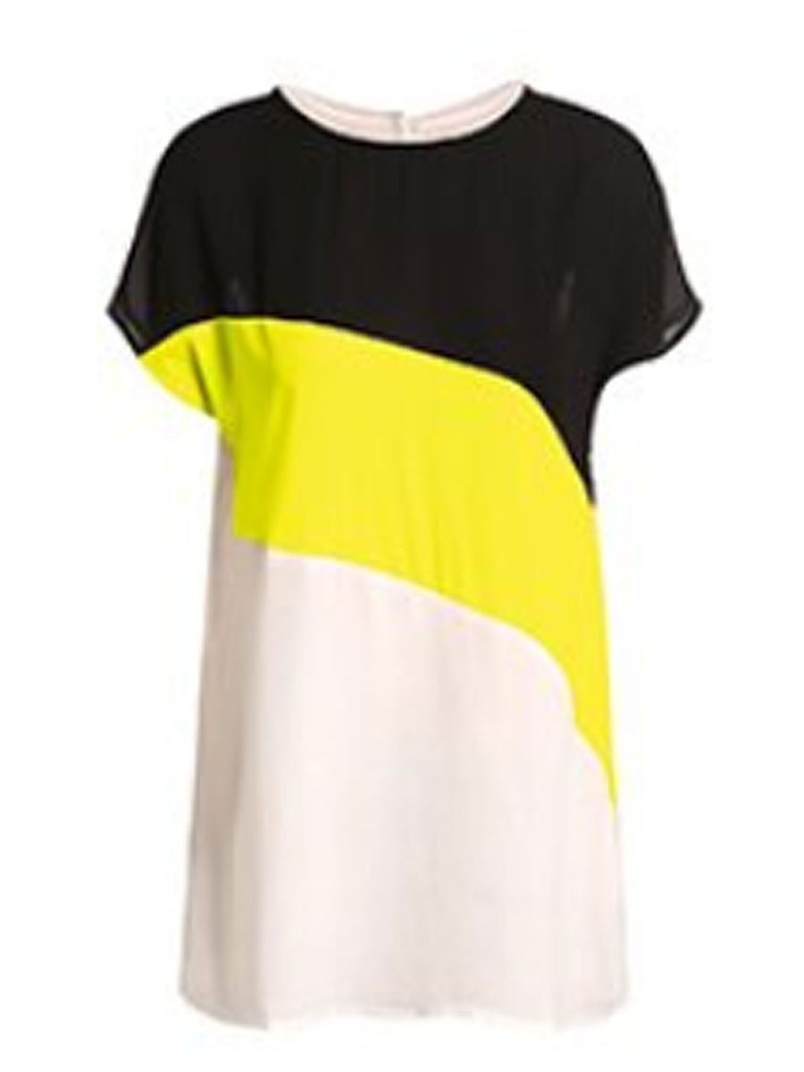 Round Neck  Patchwork Stripes Short Sleeve T-Shirts