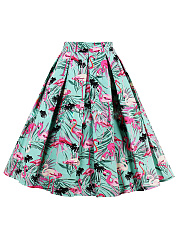 Red-Crowned Crane Printed Flared Midi Skirt