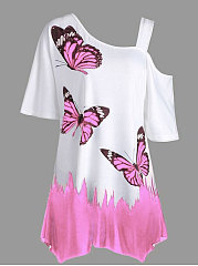 Summer  Polyester  Women  Open Shoulder  Animal Butterfly Printed Printed Short Sleeve T-Shirts