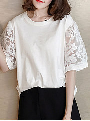 Spring Summer  Polyester  Women  Round Neck  Patchwork See-Through  Hollow Out  Half Sleeve Short Sleeve T-Shirts