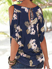 Summer  Polyester  Women  Open Shoulder  Floral Printed  Batwing Sleeve Short Sleeve T-Shirts