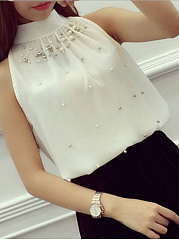 Spring Summer  Chiffon  Crew Neck  Plain  Sleeveless Blouse