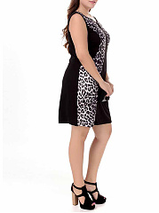 Round Neck  Floral Leopard Plus Size Bodycon Dresses