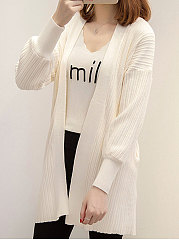 Collarless  Plain Striped  Puff Sleeve Cardigans