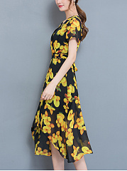 V-Neck  Asymmetric Hem  Printed Maxi Dress