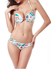 Halter Printed Underwire Push Up Bikini