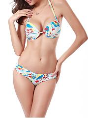 Halter-Printed-Underwire-Push-Up-Bikini