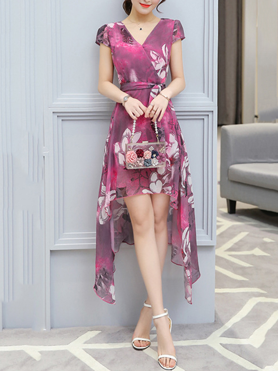 V-Neck  Asymmetric Hem  Belt  Printed  Chiffon Maxi Dress