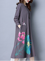 Loose Big Flower Printed Round Neck Maxi Dress