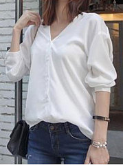 Spring Summer  Cotton  Women  V-Neck  Bowknot Single Breasted  Plain  Three-Quarter Sleeve Blouses