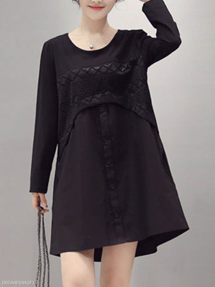 Casual Round Neck  Decorative Lace  Plain Shift Dress