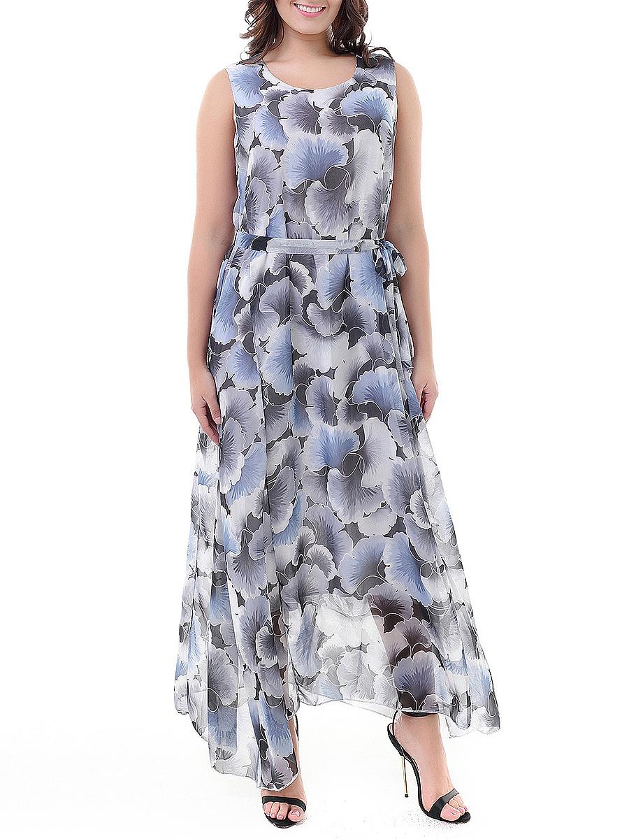 Round Neck  Abstract Print Holiday Plus Size Midi & Maxi Dresses
