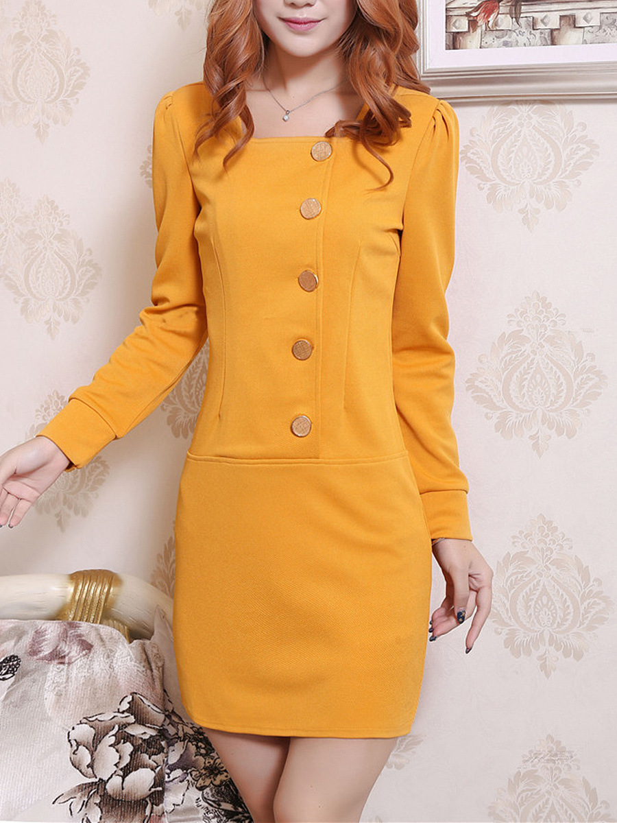 Square Neck Plain Decorative Button Mini Bodycon Dress