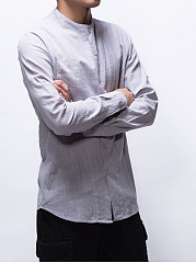 Band Collar  Plain Men Shirt