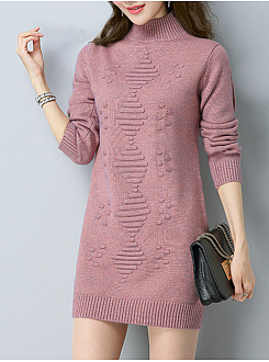 Loose Mid-Length Long-Sleeve Versatile Sweater Dress