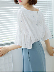 Summer  Blend  Women  Round Neck  Polka Dot  Bell Sleeve  Half Sleeve Blouses