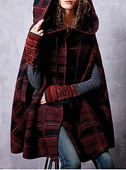 Hooded  Drawstring  Plaid Coats