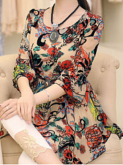 Spring Summer  Polyester  Round Neck  Printed  Bell Sleeve  Three-Quarter No Drawstring Sleeve Blouse