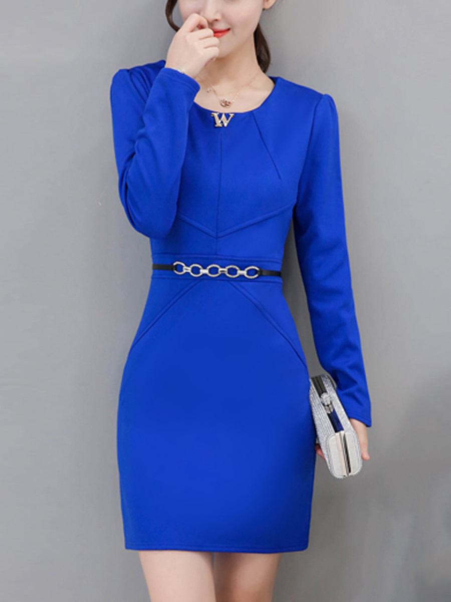 Round Neck Chain Plain Fleece Lined Bodycon Dress