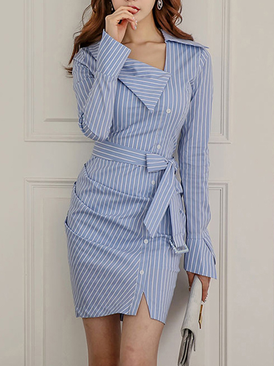 Sexy Striped Belt Asymmetric Neck Bodycon Dress