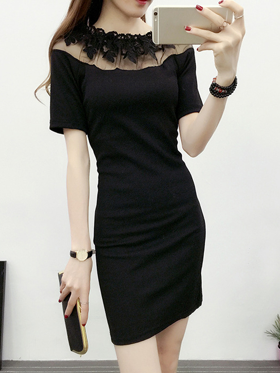 Round Neck Solid Hollow Out Bodycon Dress