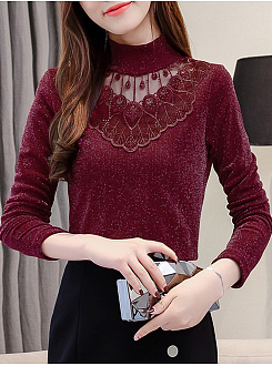Autumn Spring  Cotton  Women  High Neck  Decorative Lace Patchwork  Plain Long Sleeve T-Shirts