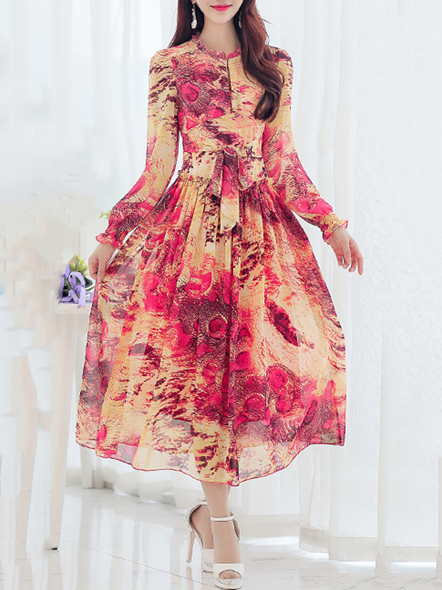 Round Neck Long Sleeve Chiffon Bowknot Printed Maxi Dress