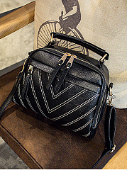 PU Zips Striped Shoulder Bags