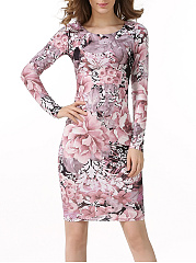 Women Floral Printed Round Neck Bodycon Dress