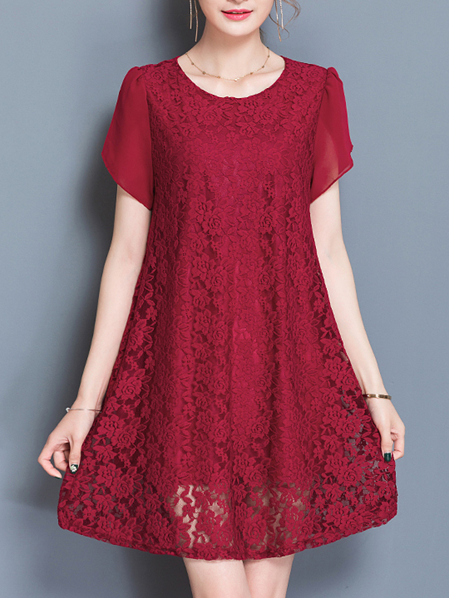 Lace Hollow Out Plain Petal Sleeve Shift Dress
