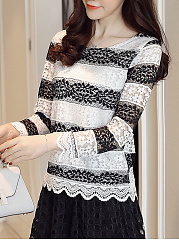 Autumn  Lace  Women  Round Neck  Scalloped Hem  Hollow Out Striped  Long Sleeve Blouses