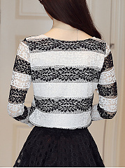 Round Neck  Scalloped Hem  Hollow Out Striped  Long Sleeve Blouses