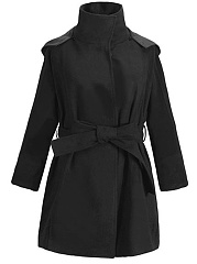 Plain Belt Woolen Coat With Detachable Hood And Faux Fur Collar