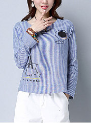 Autumn Spring  Cotton  Women  Sweet Heart  Striped  Long Sleeve Blouses