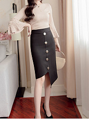 Asymmetric Hem Single Breasted  Decorative Button  Plain  Straight Knee-Length Skirts
