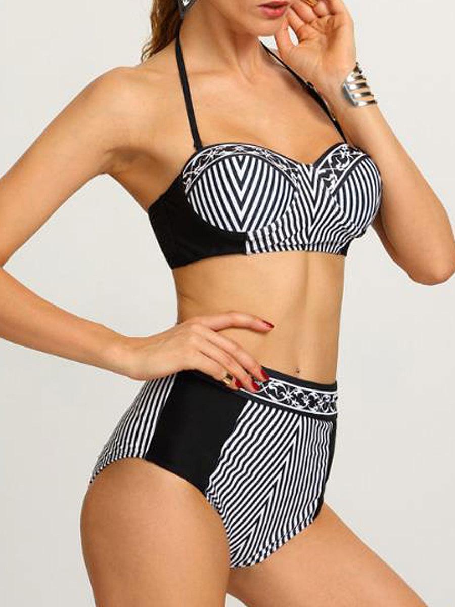 Striped High-Rise Bikini For Women