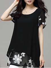 Summer  Polyester  Women  Round Neck  Asymmetric Hem Patchwork  Embroidery  Short Sleeve Blouses