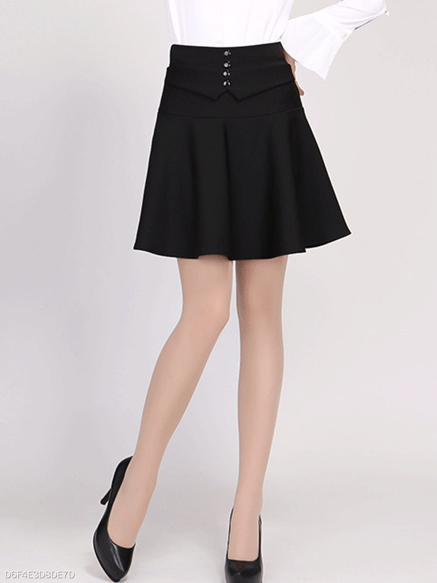 Decorative Button Plain Flared Mini Skirt With Underpant