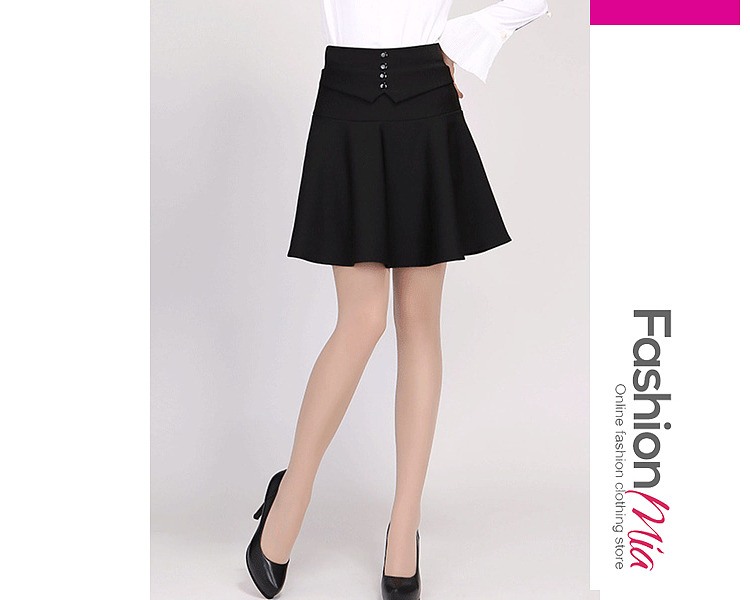 Image of Decorative Button Plain Flared Mini Skirt With Underpant
