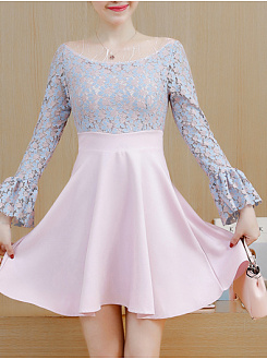 Round Neck  See-Through  Lace Skater Dress