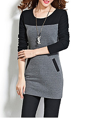 Autumn Spring Winter  Cotton  Women  Patch Pocket  Color Block Long Sleeve T-Shirts
